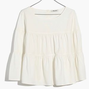 Madewell Cream Tiered Button Back Top